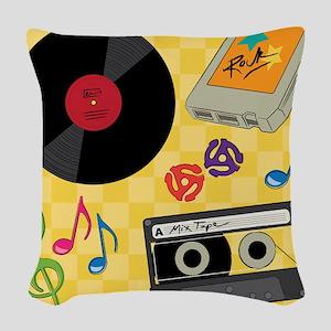 Retro Music Collection Woven Throw Pillow