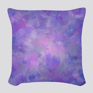 Pink, purple and lavender canv Woven Throw Pillow