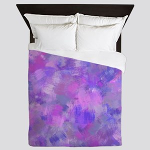 Bold pink, purple and lavender canvas Queen Duvet