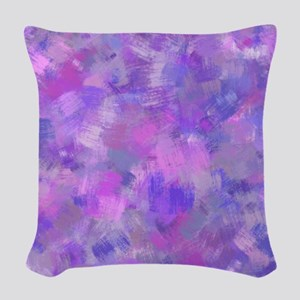 Bold pink, purple and lavender Woven Throw Pillow