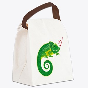 Chameleon with heart. Canvas Lunch Bag