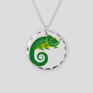 Chameleon with heart. Necklace Circle Charm
