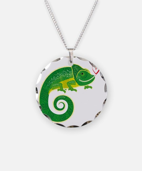 Chameleon with heart. Necklace
