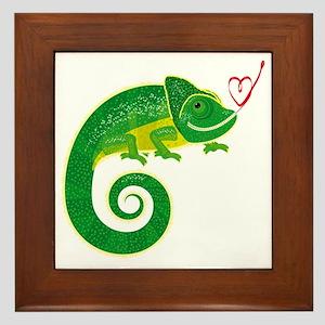 Chameleon with heart. Framed Tile