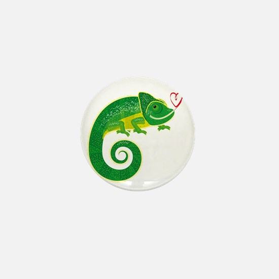 Chameleon with heart. Mini Button