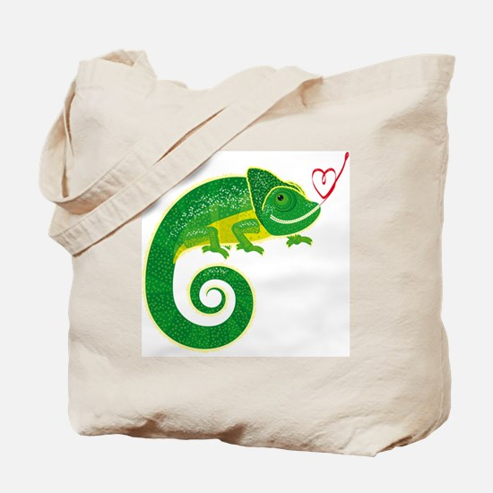 Chameleon with heart. Tote Bag