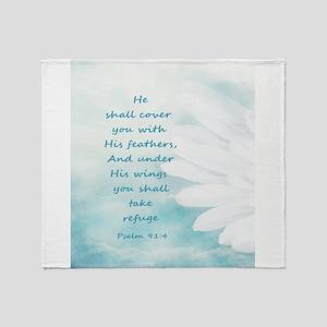 Scripture Psalm 91:4 Refuge Under Hi Throw Blanket