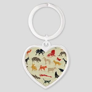 Animals Heart Keychain