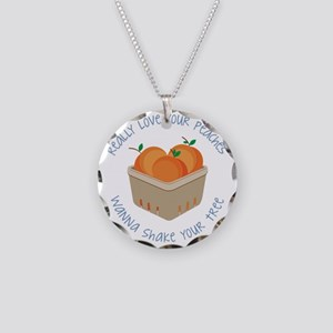 Love Your Peaches Necklace Circle Charm
