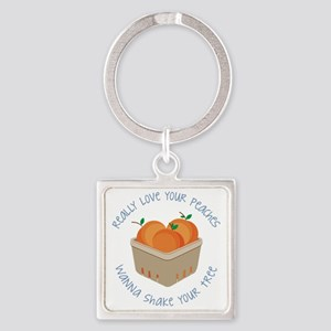 Love Your Peaches Square Keychain
