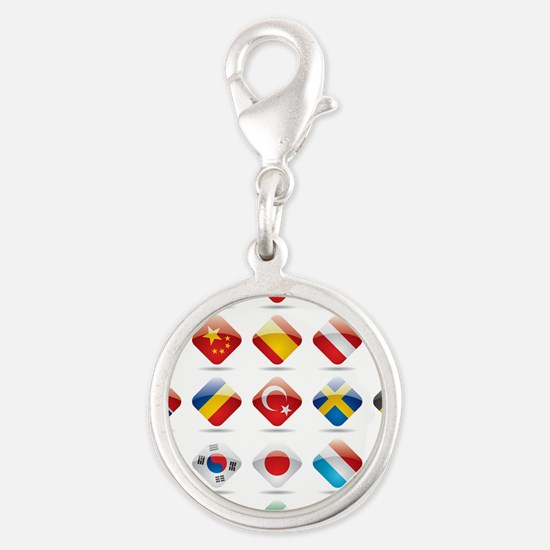 Vector set world flag icons 2 Silver Round Charm