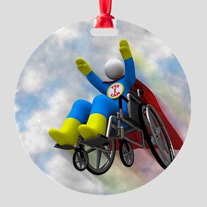 Wheelchair Superhero in Flight Round Ornament