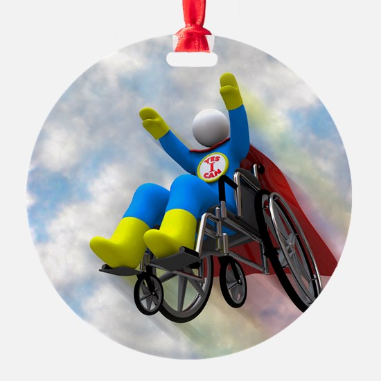 Wheelchair Superhero in Flight Ornament