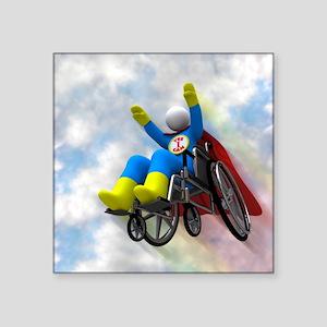 "Wheelchair Superhero in Fli Square Sticker 3"" x 3"""
