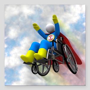 "Wheelchair Superhero in  Square Car Magnet 3"" x 3"""