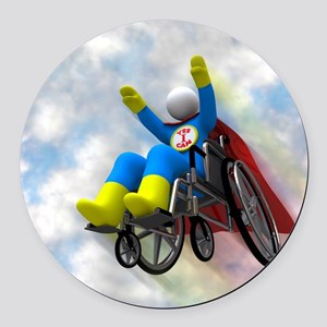 Wheelchair Superhero in Flight Round Car Magnet