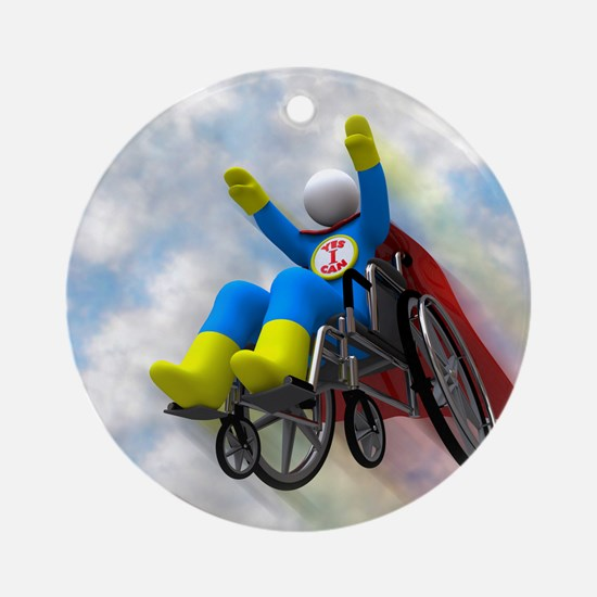 Wheelchair Superhero in Flight Round Ornament