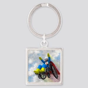 Wheelchair Superhero in Flight Square Keychain