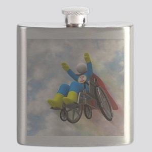Wheelchair Superhero in Flight Flask
