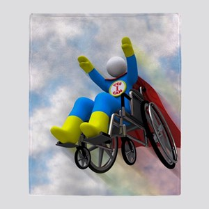 Wheelchair Superhero in Flight Throw Blanket