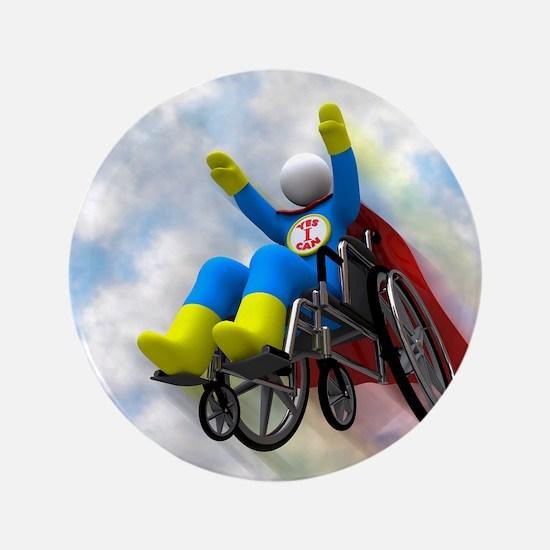 """Wheelchair Superhero in Flight 3.5"""" Button"""