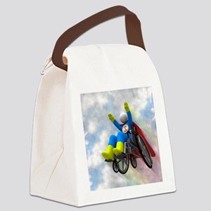 Wheelchair Superhero in Flight Canvas Lunch Bag