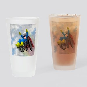 Wheelchair Superhero in Flight Drinking Glass