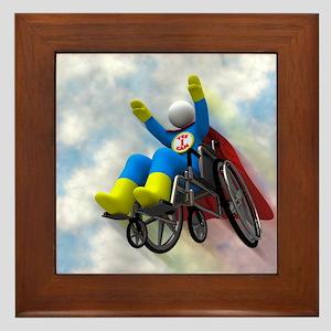 Wheelchair Superhero in Flight Framed Tile