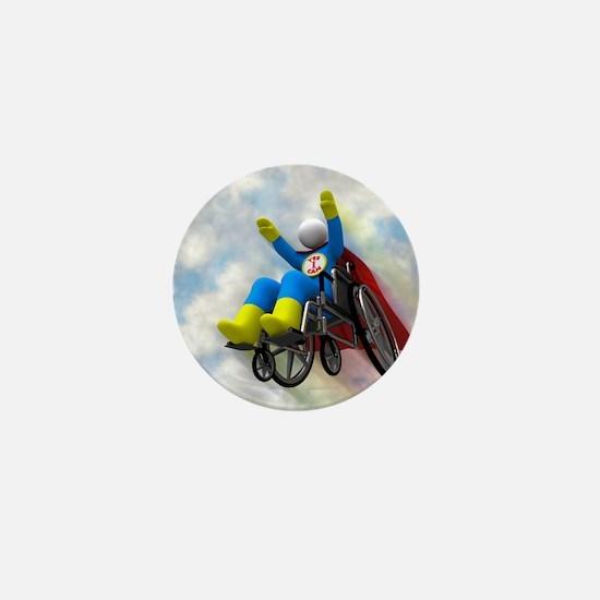 Wheelchair Superhero in Flight Mini Button