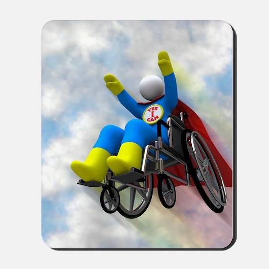 Wheelchair Superhero in Flight Mousepad
