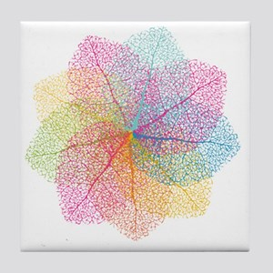 Abstract summer leaves Tile Coaster