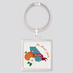The Peach State Square Keychain