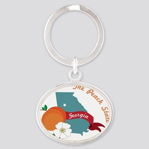 The Peach State Oval Keychain