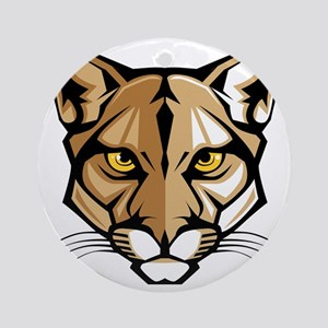 Cougar Panther Mascot Head Round Ornament