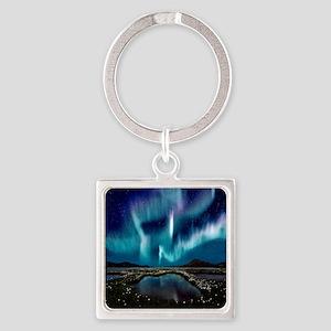 Aurora Borealis Square Keychain