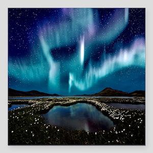 """Aurora Borealis Square Car Magnet 3"""" x 3"""""""