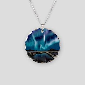 Aurora Borealis Necklace Circle Charm