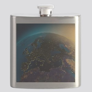 Night View Of Europe From The Satellite Flask