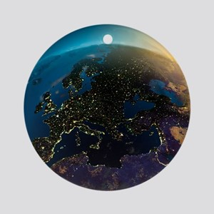 Night View Of Europe From The Satel Round Ornament