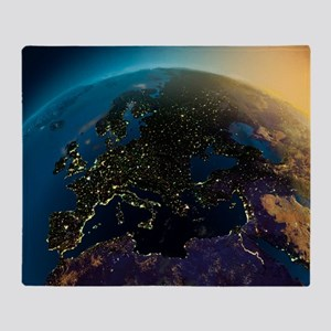 Night View Of Europe From The Satell Throw Blanket