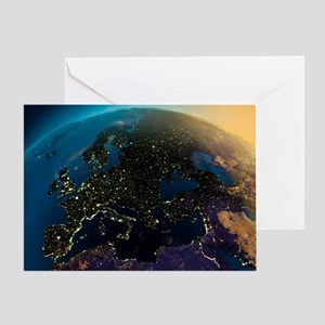 Night View Of Europe From The Satell Greeting Card