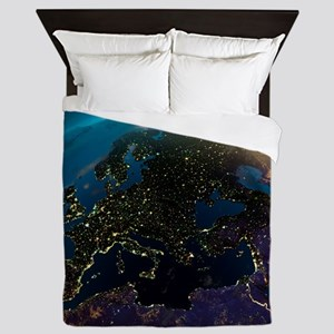 Night View Of Europe From The Satellit Queen Duvet