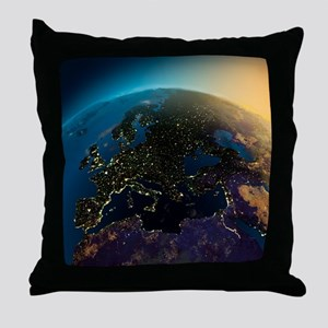 Night View Of Europe From The Satelli Throw Pillow
