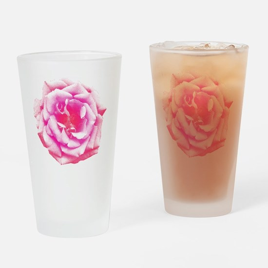 Halftone Rose Drinking Glass