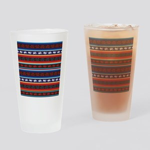 Seamless Mexican lizard fabric patt Drinking Glass