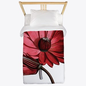 Red Water Lilies Twin Duvet