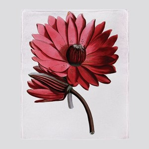 Red Water Lilies Throw Blanket