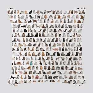 Large group of 471 cats breeds Woven Throw Pillow