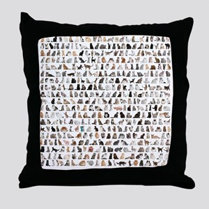 Large group of 471 cats breeds in fro Throw Pillow