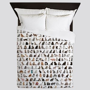 Large group of 471 cats breeds in fron Queen Duvet